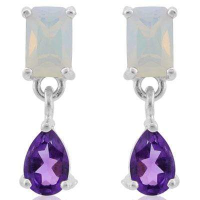 MAGNIFICENT 1.7 CARAT TW CREATED FIRE OPAL & AMETHYST PLATINUM OVER 0.925 STERLING SILVER EARRINGS wholesalekings wholesale silver jewelry