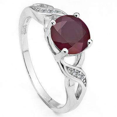 MAGNIFICENT 1.87 CARAT GENUINE RUBY & CUBIC ZIRCONIA PLATINUM OVER 0.925 STERLING SILVER RING - Wholesalekings.com