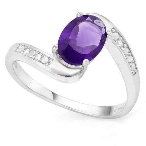 MAGNIFICENT 1 CARAT AMETHYST &   GENUINE DIAMONDS 925 STERLING SILVER RING - Wholesalekings.com