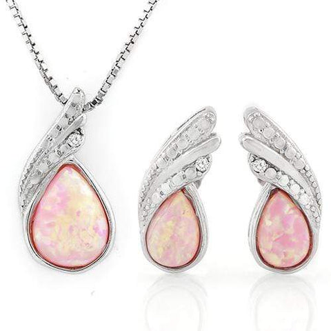 MAGNIFICENT 1 CARAT CREATED PINK FIRE OPAL 925 STERLING SILVER SET - Wholesalekings.com