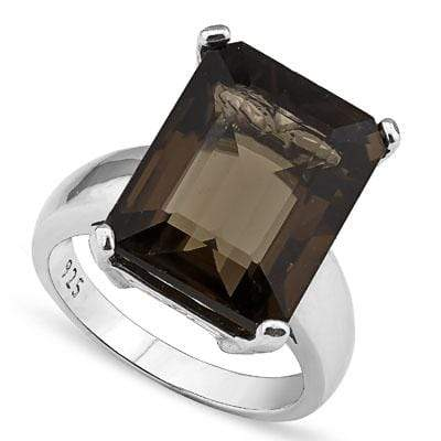 MAGNIFICENT 13.00 CT SMOKEY TOPAZ 0.925 STERLING SILVER W/ PLATINUM RING wholesalekings wholesale silver jewelry