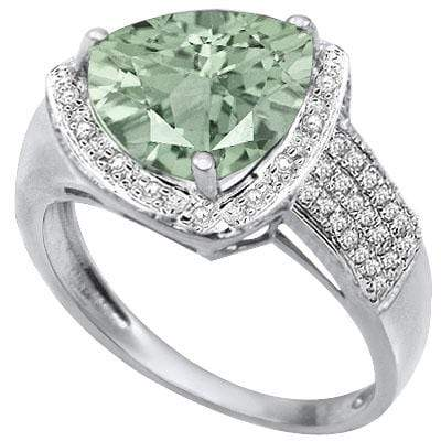 MAGNIFICENT 2.91 CARAT TW  GREEN AMETHYST & GENUINE DIAMOND PLATINUM OVER 0.925 STERLING SILVER RING - Wholesalekings.com