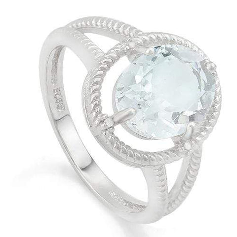 MAGNIFICENT ! 2 CARAT AQUAMARINE & DIAMOND 925 STERLING SILVER RING - Wholesalekings.com