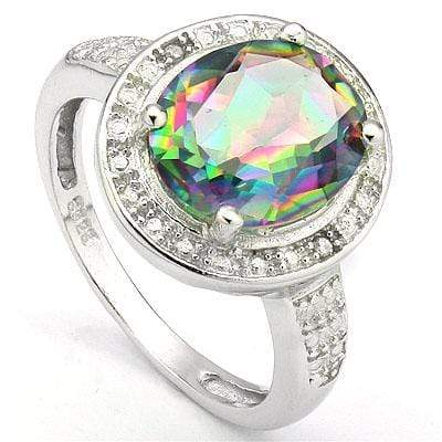 MAGNIFICENT 3.30 CT MYSTIC GEMSTONE & 2 PCS GENUINE DIAMOND PLATINUM OVER 0.925 STERLING SILVER RING - Wholesalekings.com