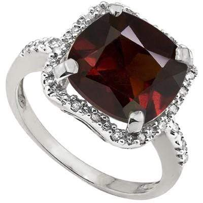 MAGNIFICENT 4.41 CT GARNET & 2 PCS WHITE DIAMOND 0.925 STERLING SILVER W/ PLATINUM RING wholesalekings wholesale silver jewelry