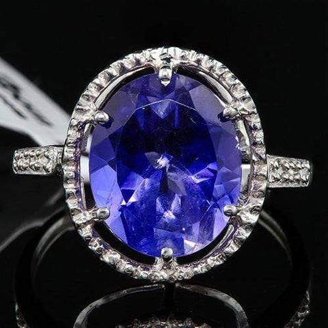 MAGNIFICENT ! 7.83 CARAT LAB TANZANITE & DIAMOND 10KT SOLID GOLD RING - Wholesalekings.com