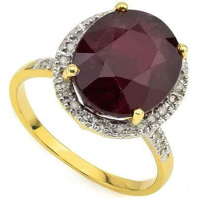 MAGNIFICENT 8.60 CT AFRICAN RUBY & 28 PCS WHITE DIAMOND 10K SOLID YELLOW GOLD RI - Wholesalekings.com