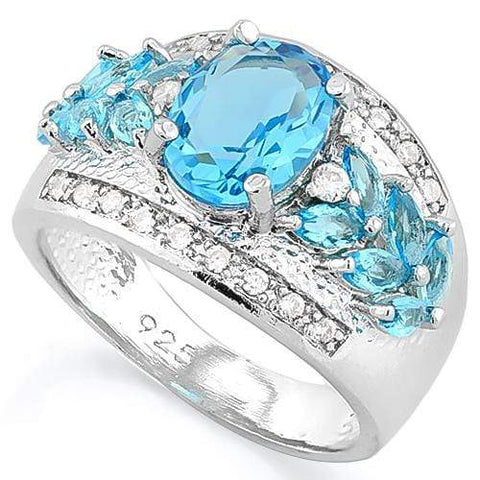MAGNIFICENT ! CREATED BLUE TOPAZ 925 STERLING SILVER RING - Wholesalekings.com