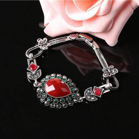 MAGNIFICENT ! CREATED RED STONE 18K GOLD PLATED GERMAN SILVER RETRO BRACELET wholesalekings wholesale silver jewelry