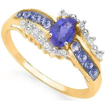 MARVELOUS 0.45 CT GENUINE TANZANITE & 6 PCS GENUINE TANZANITE 10K SOLID YELLOW GOLD RING wholesalekings wholesale silver jewelry