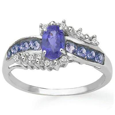 MARVELOUS 0.753 CARAT TW (9 PCS) GENUINE TANZANITE & GENUINE TANZANITE PLATINUM OVER 0.925 STERLING SILVER RING - Wholesalekings.com