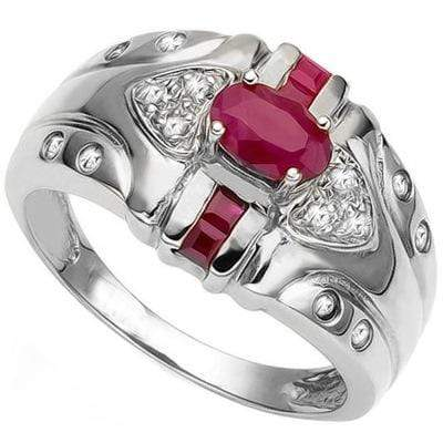 MARVELOUS 0.812 CARAT TW GENUINE RUBY & GENUINE RUBY PLATINUM OVER 0.925 STERLING SILVER RING - Wholesalekings.com