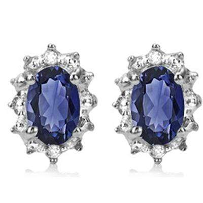 MARVELOUS 0.93 CT GENUINE TANZANITE & 4 PCS GENUINE DIAMOND 10K SOLID WHITE GOLD - Wholesalekings.com