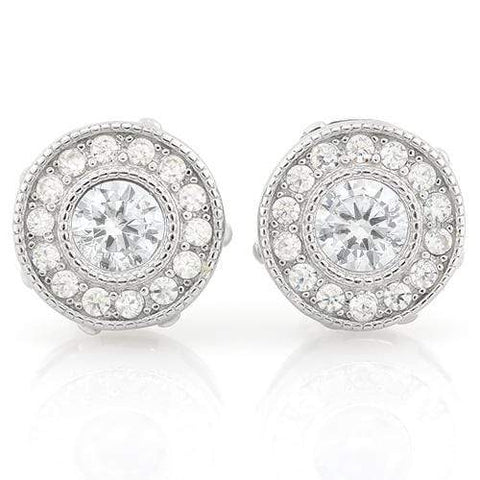 MARVELOUS 1 1/2 CARAT (30 PCS) FLAWLESS CREATED DIAMOND 925 STERLING SILVER EARR - Wholesalekings.com