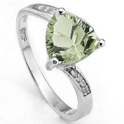 MARVELOUS 1.65 CARAT TW GREEN AMETHYST & CUBIC ZIRCONIA PLATINUM OVER 0.925 STERLING SILVER RING - Wholesalekings.com