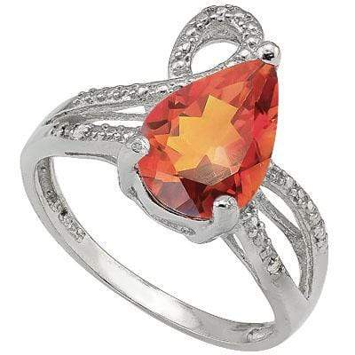 MARVELOUS 1.75 CARAT AZOTIC GEMSTONE & GENUINE DIAMOND PLATINUM OVER 0.925 STERLING SILVER RING - Wholesalekings.com