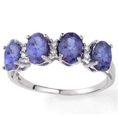MARVELOUS 1.75 CT GENUINE TANZANITE & 6 PCS WHITE DIAMOND 9K SOLID WHITE GOLD RI - Wholesalekings.com