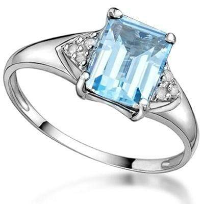 MARVELOUS 1.87 CT BLUE TOPAZ & 2 PCS GENUINE DIAMOND PLATINUM OVER 0.925 STERLING SILVER RING - Wholesalekings.com