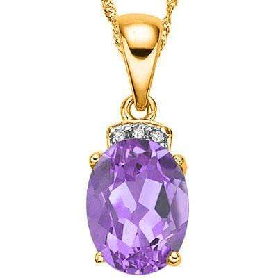 MARVELOUS ! 1 CARAT AMETHYST & DIAMOND 10KT SOLID GOLD PENDANT ( DO NOT COME WIT - Wholesalekings.com