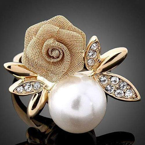 MARVELOUS ! 18K GOLD PLATED MAN-MAKE PEARL DESIGNER RING wholesalekings wholesale silver jewelry