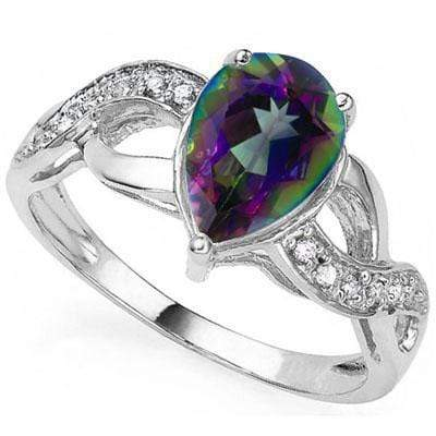 MARVELOUS 2.01 CARAT TW MYSTIC GEMSTONE & GENUINE DIAMOND PLATINUM OVER 0.925 STERLING SILVER RING - Wholesalekings.com
