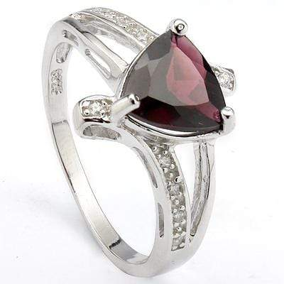 MARVELOUS 2.15 CT GARNET & 10 PCS CREATED WHITE SAPPHIRE 0.925 STERLING SILVER W/ PLATINUM RING - Wholesalekings.com