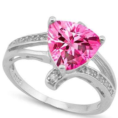 MARVELOUS 2.17 CT CREATED PINK SAPPHIRE & 10PCS CREATED WHITE SAPPHIRE PLATINUM OVER 0.925 STERLING SILVER RING - Wholesalekings.com