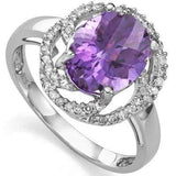 MARVELOUS 2.25 CT AMETHYST & 2 PCS WHITE DIAMOND PLATINUM OVER 0.925 STERLING SI - Wholesalekings.com