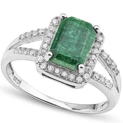 MARVELOUS 2.64 CARAT TW DYED GENUINE EMERALD & CREATED WHITE SAPPHIRE PLATINUM OVER 0.925 STERLING SILVER RING - Wholesalekings.com