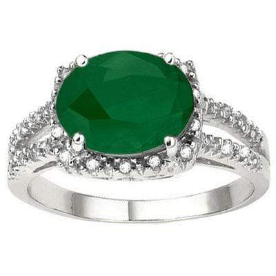 MARVELOUS 2.79 CARAT TW (23 PCS) GENUINE EMERALD & GENUINE DIAMOND 10K SOLID WHI - Wholesalekings.com