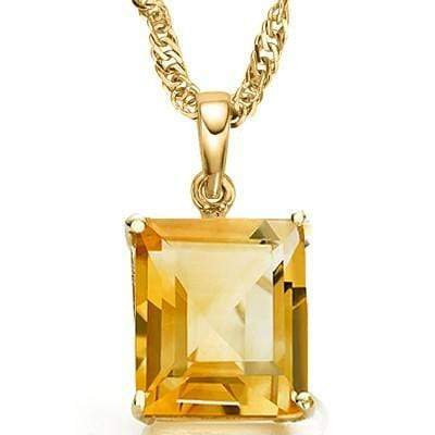 MARVELOUS 3.41 CT CITRINE & 3 PCS GENUINE DIAMOND 10K SOLID YELLOW GOLD PENDANT - Wholesalekings.com