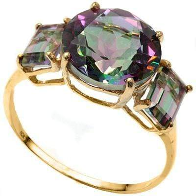 MARVELOUS 3.53 CT MYSTIC GEMSTONE & 2 PCS MYSTIC GEMSTONE 10K SOLID YELLOW GOLD RING wholesalekings wholesale silver jewelry