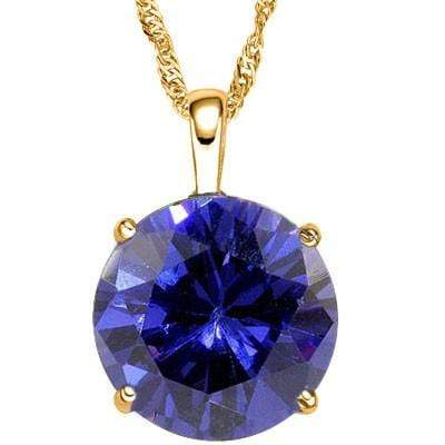 MARVELOUS 3 CARAT TW (1 PCS) LAB TANZANITE 10K SOLID YELLOW GOLD PENDANT - Wholesalekings.com