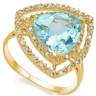 MARVELOUS 4.338 CARAT TW (35 PCS) BLUE TOPAZ & GENUINE DIAMOND 10K SOLID YELLOW - Wholesalekings.com