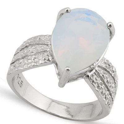 MARVELOUS 4.357 CARAT TW CREATED FIRE OPAL & GENUINE DIAMOND PLATINUM OVER 0.925 STERLING SILVER RING - Wholesalekings.com