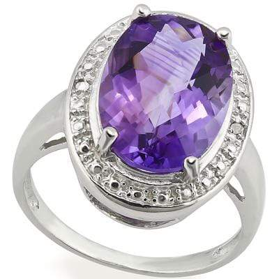 MARVELOUS 4.848 CARAT TW (3 PCS) AMETHYST & GENUINE DIAMOND PLATINUM OVER 0.925 STERLING SILVER RING - Wholesalekings.com