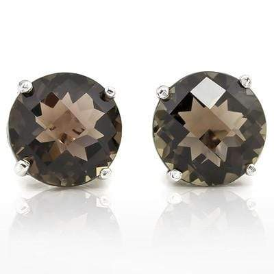 MARVELOUS 9.00 CT SMOKEY TOPAZ 10K SOLID WHITE GOLD EARRINGS wholesalekings wholesale silver jewelry