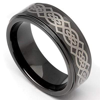 MARVELOUS BLACK PLATED  LASER ENGRAVED CELTIC CARBIDE TUNGSTEN RING wholesalekings wholesale silver jewelry