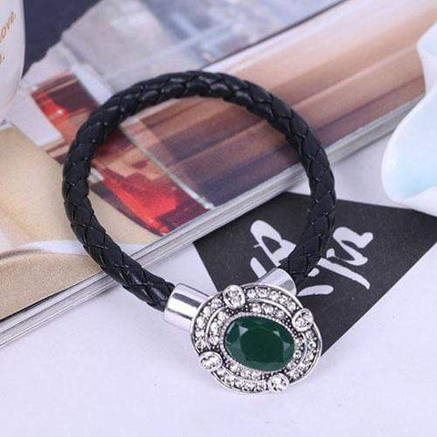 MARVELOUS ! CREATED JADE & CREATED DIAMOND 18K GOLD PLATED GERMAN SILVER BRACELE - Wholesalekings.com