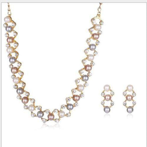 MARVELOUS ! FLAWLESS CREATED DIAMOND 18K GOLD PLATED GERMAN SILVER PEARL SET - Wholesalekings.com