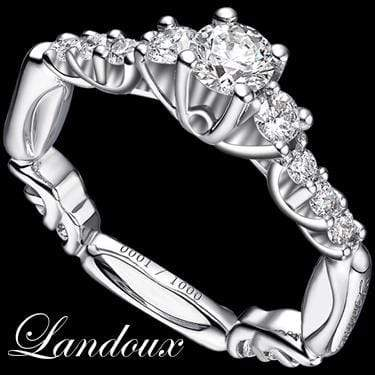 MARVELOUS  LANDOUX 1.14 CARAT TW (15 PCS) GENUINE DIAMOND & GENUINE DIAMOND 14K SOLID WHITE GOLD RING wholesalekings wholesale silver jewelry