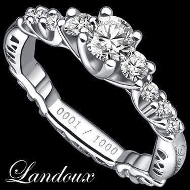 MARVELOUS LANDOUX 1.16 CARAT TW (15 PCS) GENUINE DIAMOND & GENUINE DIAMOND 14K SOLID WHITE GOLD RING wholesalekings wholesale silver jewelry