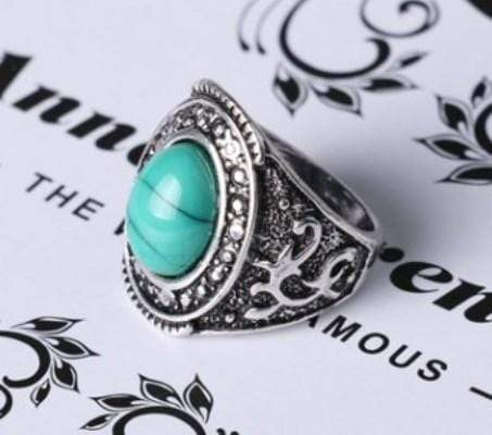 MARVELOUS SILVER PLATED ALLOY WITH TURQUOISE RING - Wholesalekings.com