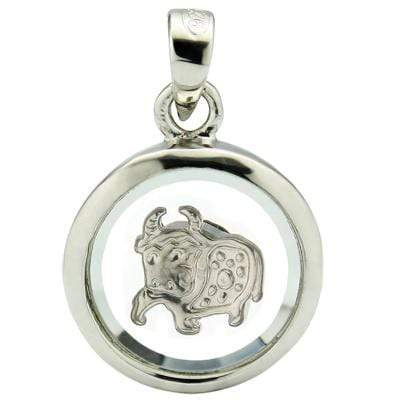 MARVELOUS WHITE GERMAN SILVER ROTATABLEPENDANT- CHINESE ZODIAC OX - Wholesalekings.com
