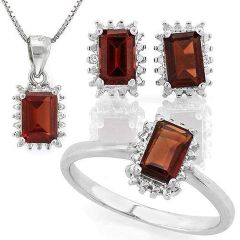 MASSIVE 3 1/2 CARAT GARNET 925 STERLING SILVER SET - Wholesalekings.com