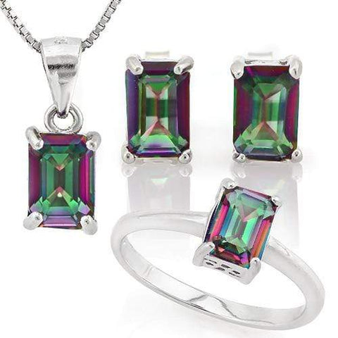 MASSIVE 3 1/4 CARAT MYSTIC GEMSTONE 925 STERLING SILVER SET - Wholesalekings.com