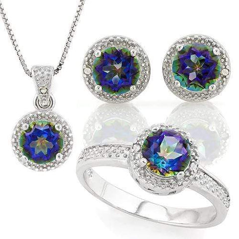 MASSIVE 3 1/5 CARAT OCEAN MYSTIC GEMSTONE & DIAMOND 925 STERLING SILVER SET - Wholesalekings.com