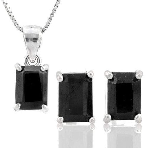 MASSIVE 3 3/5 CARAT GENUINE BLACK SAPPHIRE 925 STERLING SILVER - Wholesalekings.com