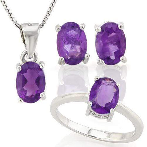 MASSIVE 3 CARAT AMETHYST 925 STERLING SILVER SET (RING, EARRING & PENDANT) - Wholesalekings.com