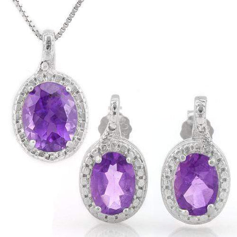 MASSIVE 3 CARAT AMETHYST 925 STERLING SILVER SET - Wholesalekings.com